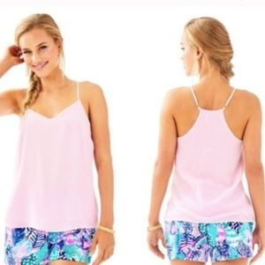 Lilly Pulitzer velvet baby pink strappy top size L
